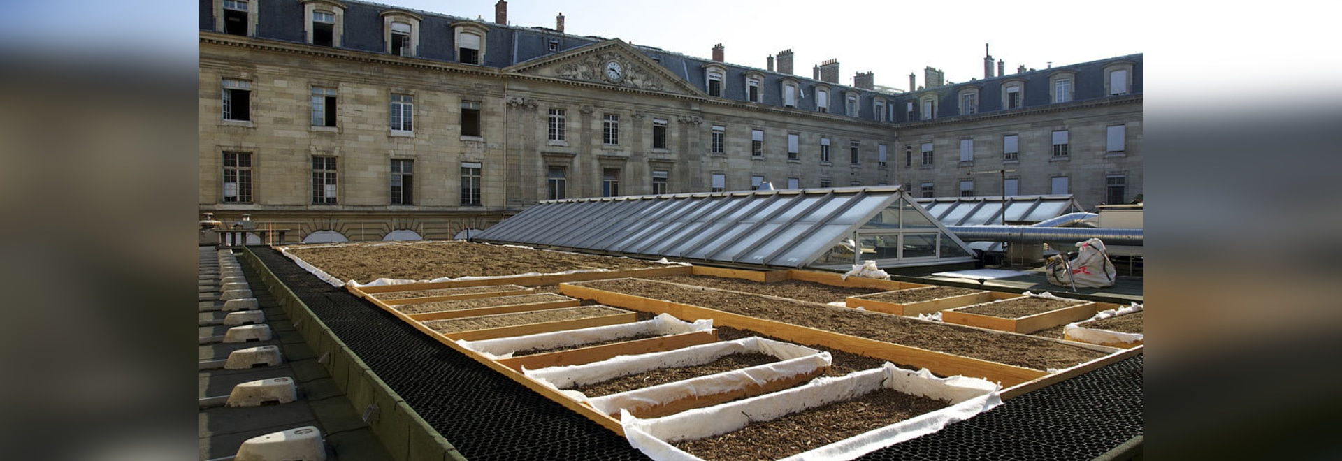 Roof garden on a building of Paris City Hall