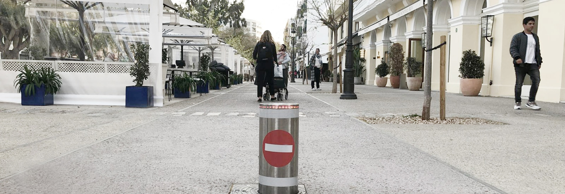 Security bollard installed in Ibiza