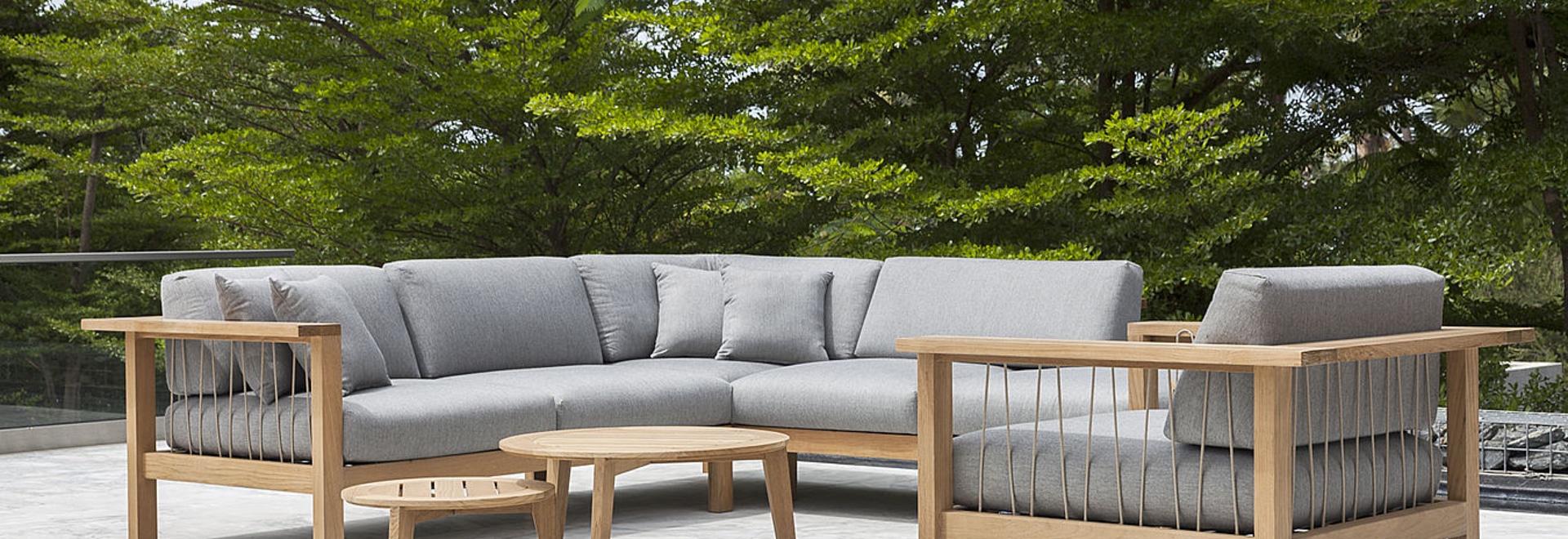 Teak lounge furniture with handwoven ropes - OASIQ