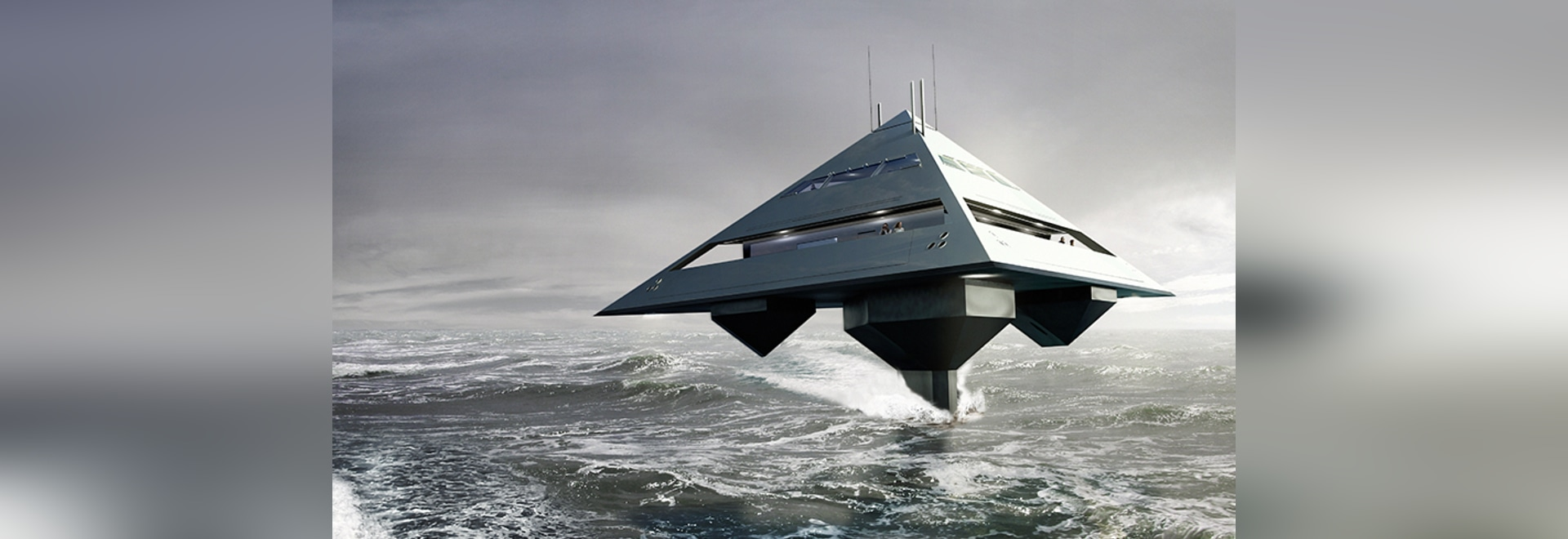 tetrahedron super yacht appears to fly above the surface of the sea