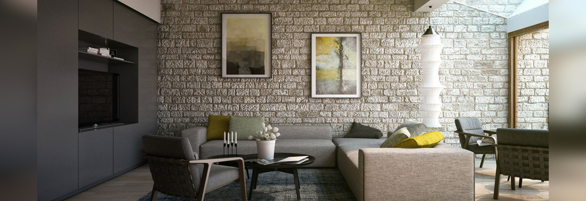 Beau This Classic Stone Wall Treatment Provides An Interesting Contrast To The  Modern Furnishings And Helps To