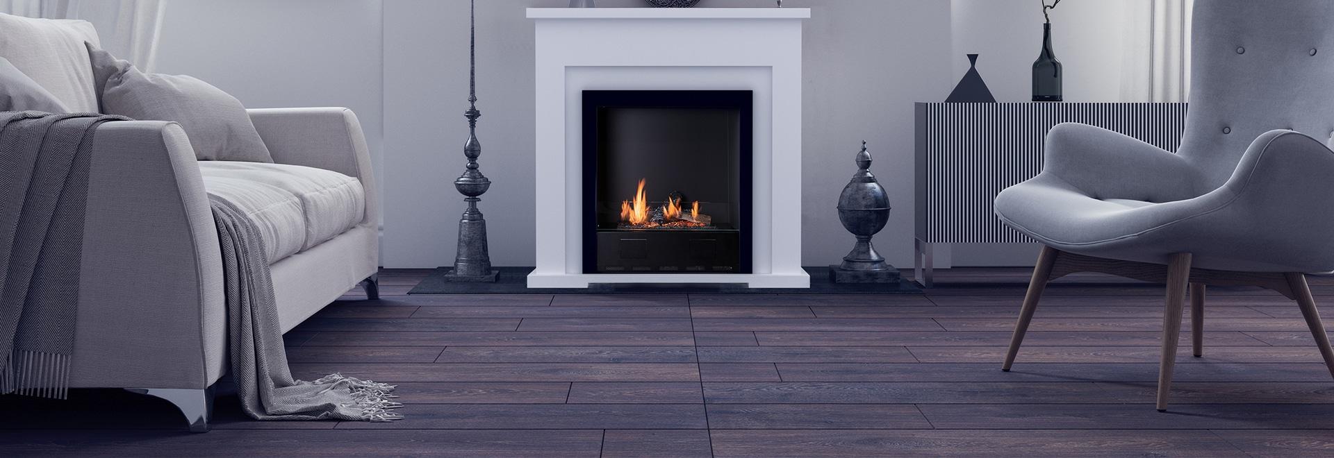 Traditional bio ethanol fireplace.