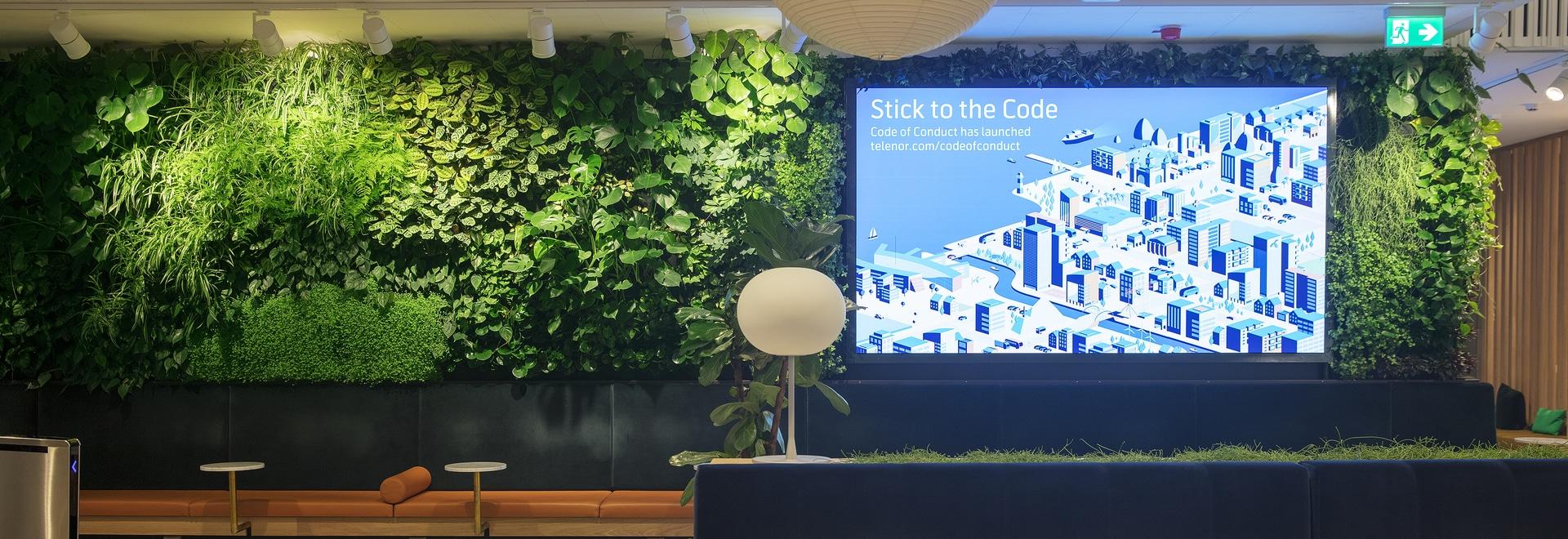 Vertical garden at Telenor head office