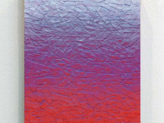 Julian Lorber, LSD_Lavender_Raspberry, 2012, acrylic paint, soot, archival tape on wood panel, 31x23cm