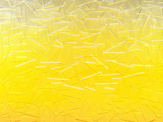 Julian Lorber, Torrential Amber at Dawn, 2015, acrylic paint, resin on wood panel, 97x81cm