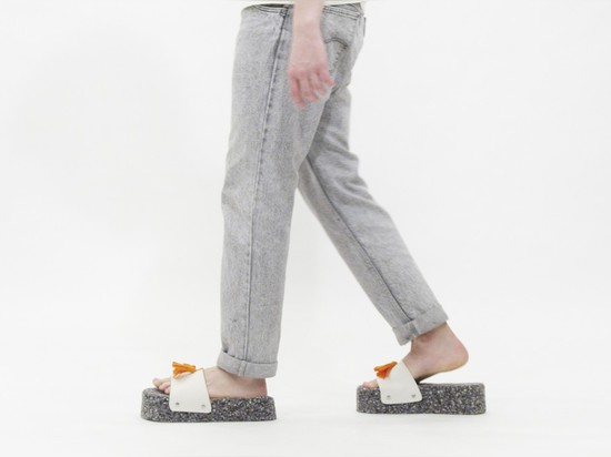 The felt and foam Bitter slippers weigh two kilograms each.