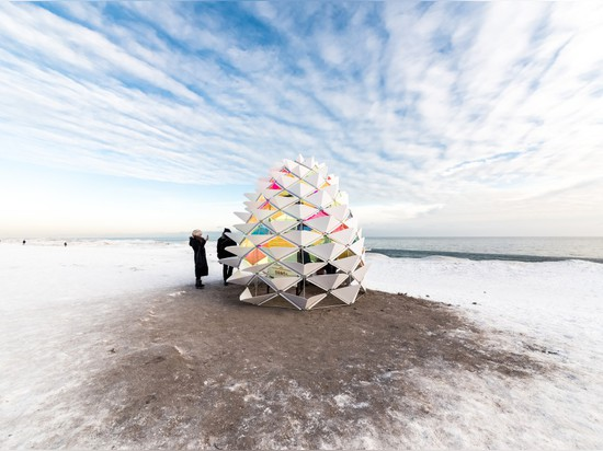 Snow Cone by Lily Jeon & Diana Koncan is a bright, happy shelter that functions like an igloo, blocking out the cold by being airtight.
