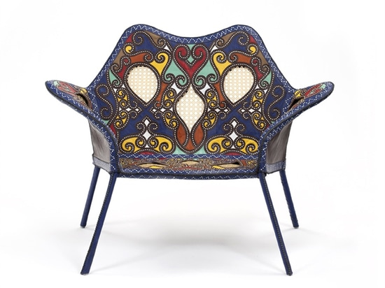 'cangaço' armchair steel, leather, wicker 140 x 80 x 92 cm limited edition of 50 + 5AP