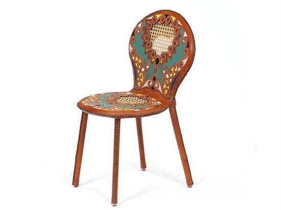 'cangaço' chair aluminium, leather, wicker 57 x 47 x 90 cm limited edition of 75 + 5AP