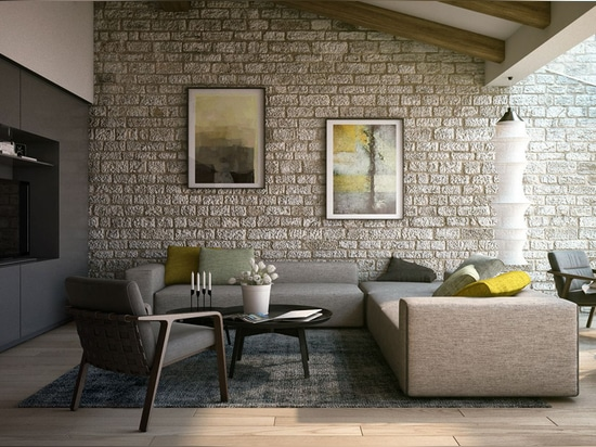 This classic stone wall treatment provides an interesting contrast to the modern furnishings and helps to soften the effect of the minimalistic entertainment cabinet.