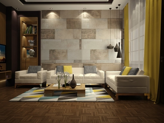 These textural wall tiles embrace the irregular: some are dappled, some are streaked, some are wide, others are thin. The result is a warm and welcoming backdrop that echoes the geometry of the mod...