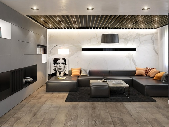 Smooth integrated storage and subtle black wallpaper serve as a frame for the main attraction: a breathtaking slab of Calacatta marble. The rich veining adds a dynamic sense of energy and motion to...