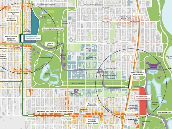 map showing the obama presidential center's two potential locations