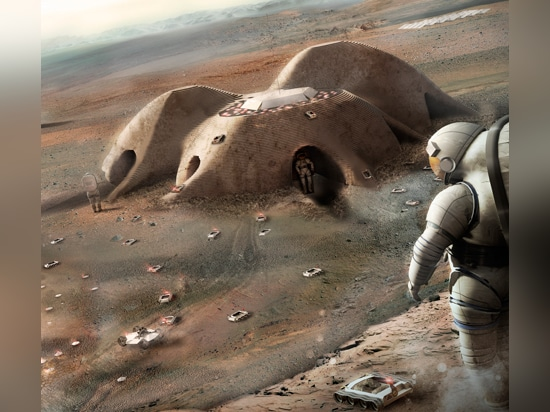 Foster + Partners revealed its concept for a 3D-printed Mars habitat built by robots back in September