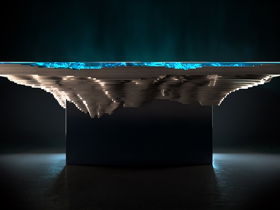 the configuration of materials creates a geological cross-section as mesmerizing as the sea