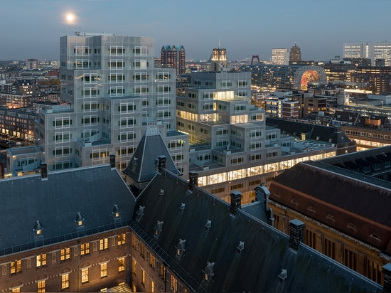 Rotterdam's latest striking architectural addition, the grey-hued Timmerhuis complex, is the brainchild of OMA   Read more at http://www.wallpaper.com/architecture/oma-unveil-timmerhuis-cascading-u...