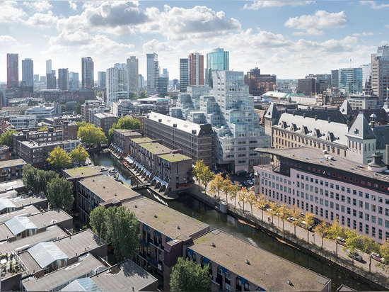 Designed to combine city hall offices, public areas and a museum, the complex also offers residential units   Read more at http://www.wallpaper.com/architecture/oma-unveil-timmerhuis-cascading-urba...