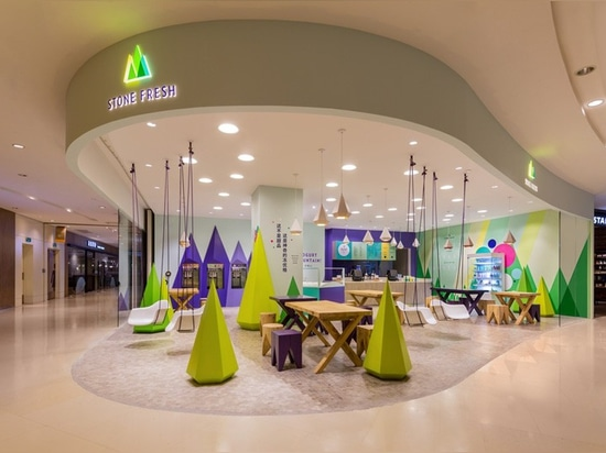 ed521b2c765b A playful theme of abstract trees and mountains were designed for this  frozen yogurt shop