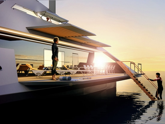 the architecture of the yacht concept is reduced to the geometry of a tetrahedron