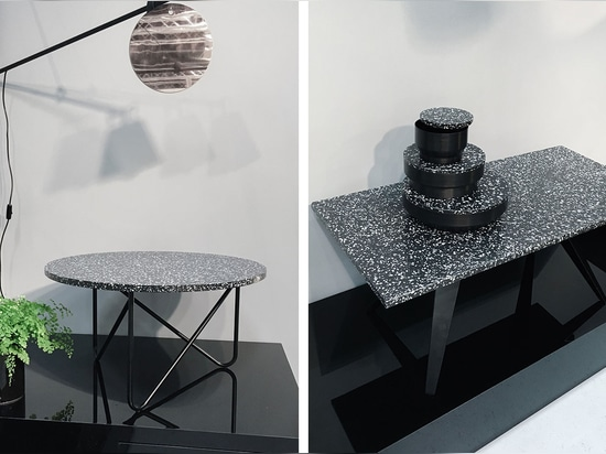 Unveiled at Stockholm Furniture & Light Fair, the Berlin-based brand's stand stood out for its style and simplicity   Read more at http://www.wallpaper.com/design/my-kilos-launch-black-stracciatell...