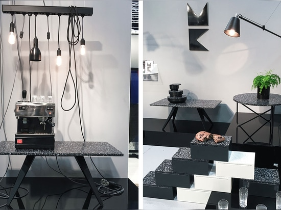 Although small, the My Kilos stand at the international furniture fair was perfectly formed, keeping show-goers entertained (and well caffeinated)