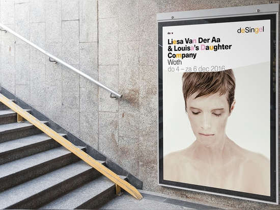 For the posters and advertising materials, blocked-out outlines of shapes found around campus are used to crop press images, providing a distinct, vibrant border
