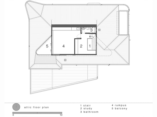 Luigi Rosselli Architects, The Bow Window Penthouse, Bondi Beach, Sydney, Australia. Attic plan