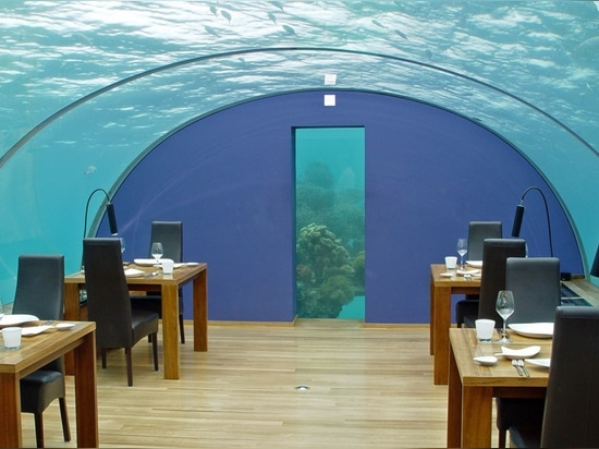 The Ithaa restaurant, a smaller structure designed by the same engineers who created the new restaurant for the Hurawalhi luxury resort, gives a glimpse at what the new restaurant will look like.