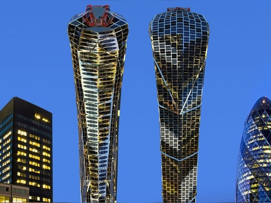 The round base of the tower rises like a serpent's body and extends to form an open-mouthed head, set to house a terraced restaurant or nightclub.