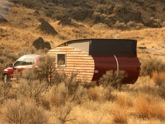 Charming wood teardrop trailer is perfect for off-grid eco adventures