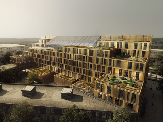 the building faces the adjacent buildings with a series of green terraces and roof gardens