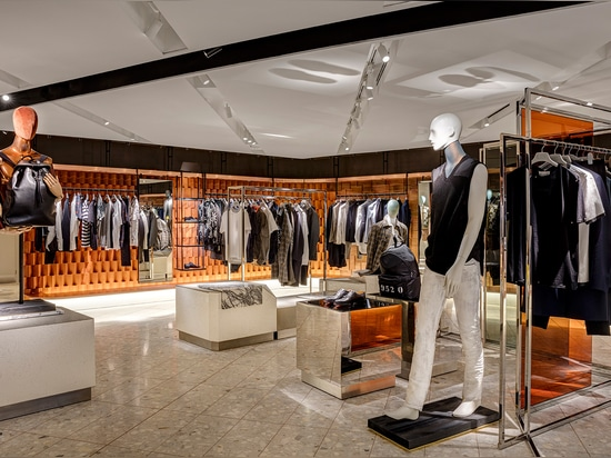 Just like the Birmingham store, bold material choices help segue the destination's different lifestyle offerings   Read more at http://www.wallpaper.com/fashion/harvey-nichols-opens-its-new-look-me...