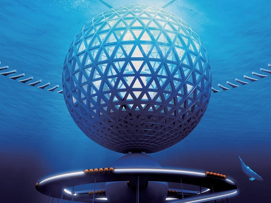 the design includes a floating globe that is connected to a resource center on the ocean floor