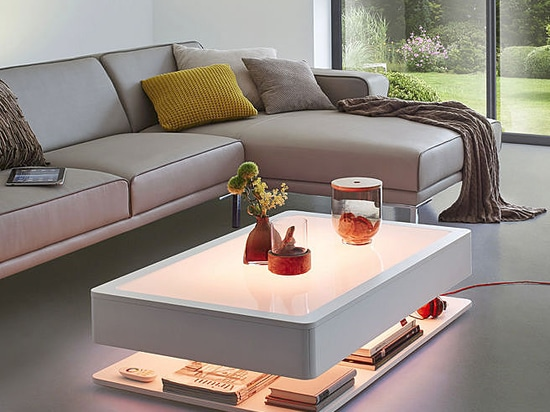 ORA HOME COFFEE TABLE: LED FURNITURE WITH STYLISH STORAGE SPACE