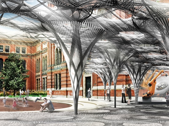 Achim Menges has developed designs for a robot-fabricated pavilion based on the wings of flying beetles, which will be erected in the V&A museum courtyard