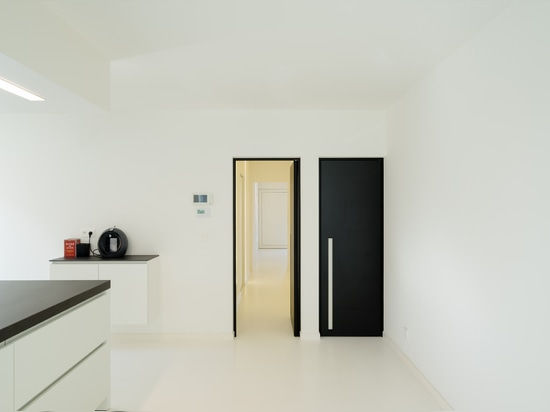 Black interior door with a white built-in handle