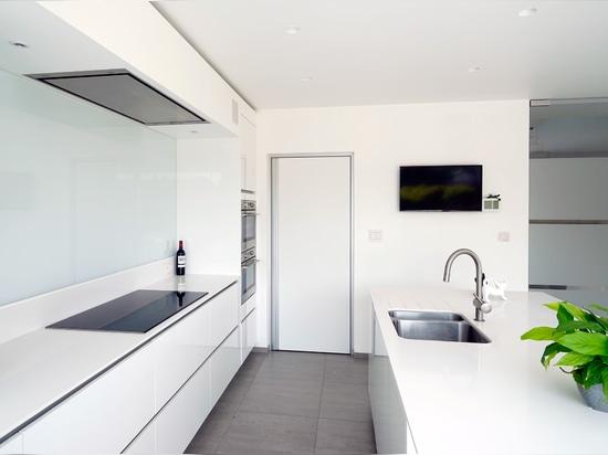Modern white door with built-in door handle