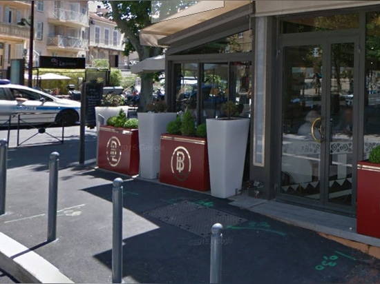 Custom planters along Restaurant