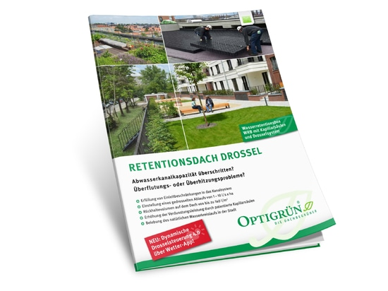 """Fig. 3: The information brochure for the flow control-type """"retention roof"""" system solution. Request for free at info@optigruen.de"""