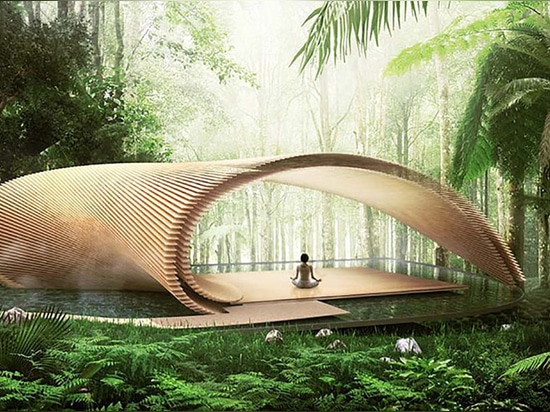 "Kengo Kuma unveils ""blossoming"" glass and timber villas for Bali"