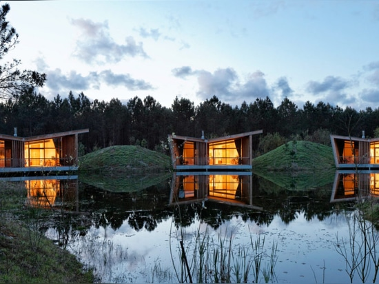 Sustainable eco huts built on stilts in an idyllic French pine forest