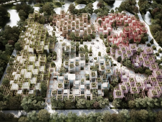 "Penda unveils temporary nature-filled ""village"" for the Beijing Horticultural Expo"