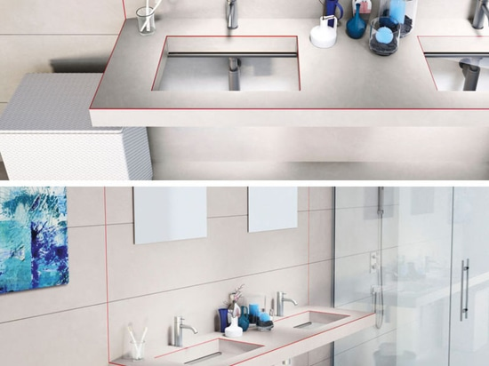 This bathroom sink was designed with a transparent glass bottom