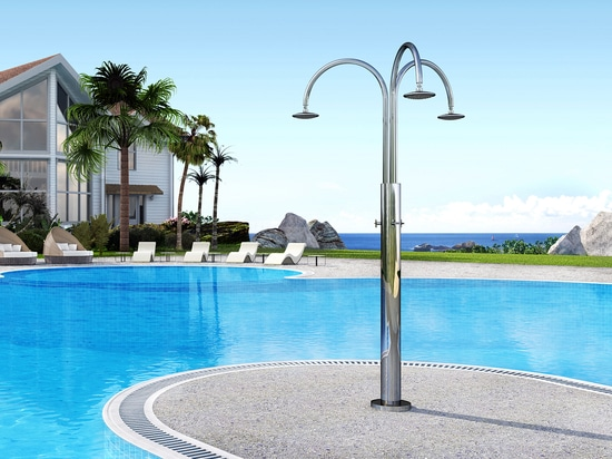 Melody Cylinder 3B - Stainless steel nautical outdoor shower for swimming pool and garden