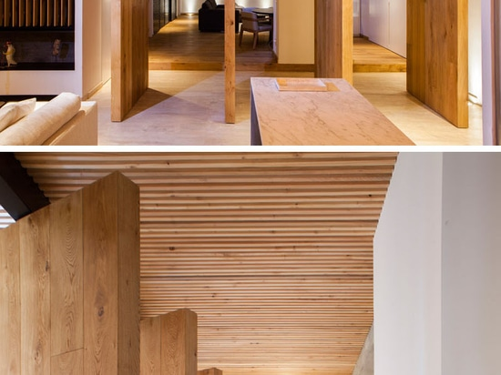 An Elegant Apartment With A Wood Slat Ceiling