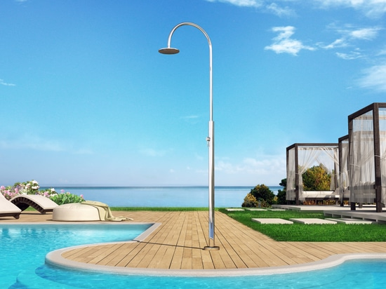 Aria Cylinder M Beauty - Stainless steel nautical outdoor shower for swimming pool and garden