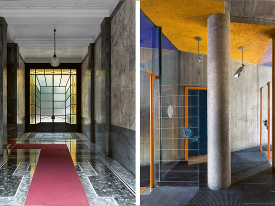 Hallways designed by Vincenzo d'Alo (left), 1935, with a pendant lamp by Luigi Caccia Dominioni; and Umberto Riva (right), 1965. Photography: Paola Pansini, Delfino Sisto Legnani