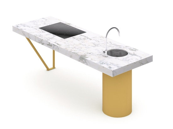 Materials and finish: Arabescato marble and melon yellow