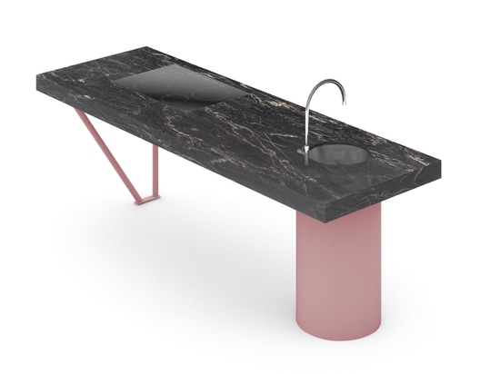 Materials and finish: Brown Emperador marble and pale pink
