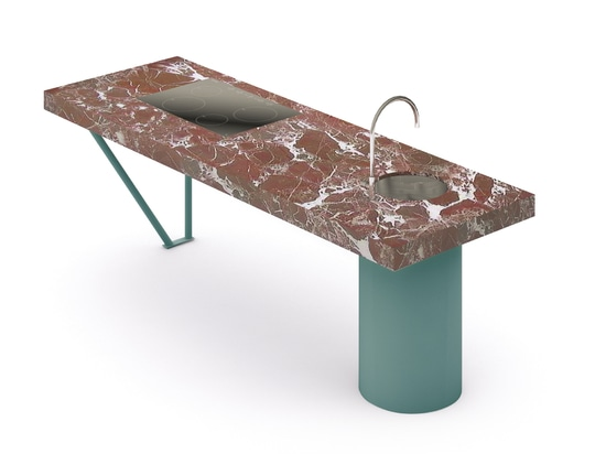 Materials and finish: Rosso Levanto marble and aquamarine